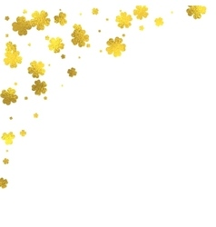 Gold glittering foil flowers on white background vector image vector image