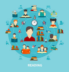 reading round composition vector image