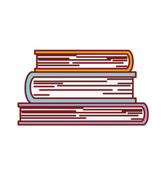 stacked books in colorful silhouette with brown vector image vector image