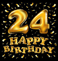 24 years anniversary with gold stylized number vector image