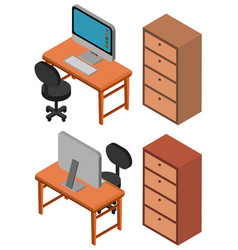 3d design for computer on table vector