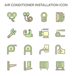 Air conditioner installation parts and tools vector