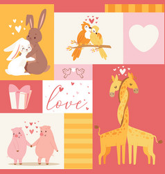 Animals baby birthday invitation zoo card vector