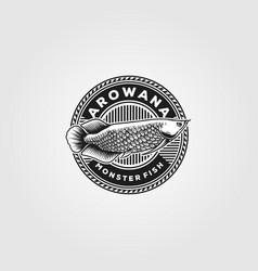 Arowana fish logo vintage design vector