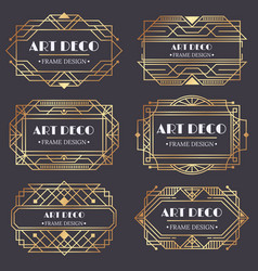 art deco frame antique golden label luxury gold vector image