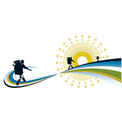 Backpacker hiking into distance vector