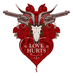 banner with pistols on theme love hurts vector image