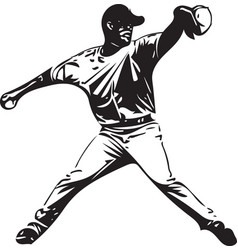 Baseball player playing vector