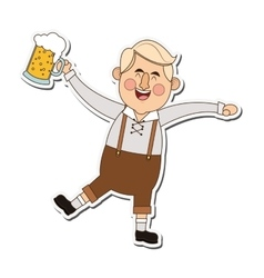 Bavarian man with beer icon vector