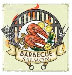 BBQ Grill label design - Salmon vector image