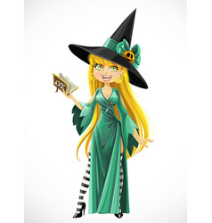 beautiful young witch with a book stand on white vector image