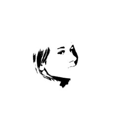 Black and white portrait of young beautiful girl vector