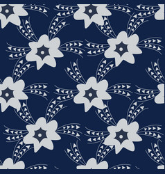 blue floral seamless pattern background vector image