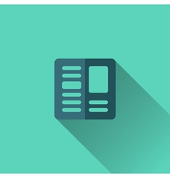 Blue newspaper icon Flat design vector image
