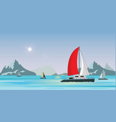 blue sea view with luxury sailing ship yacht in vector image