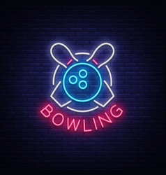 Bowling is a neon sign symbol emblem neon style vector