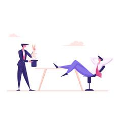 Businessman perform entertainment trick pull vector