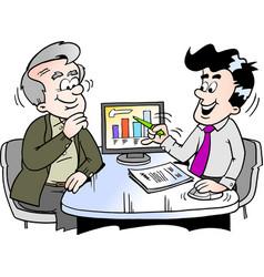 Cartoon of a older man looking at finance vector