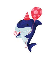 Cartoon shark celebrates birthday vector