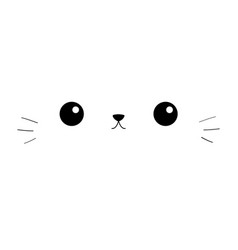Cat eyes nose moustaches cute cartoon kitty vector
