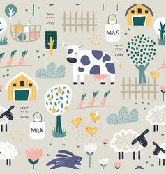 childish seamless farm pattern trendy kids vector image