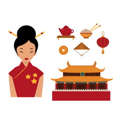 Chinese asian oriental decoration sightseeing vector