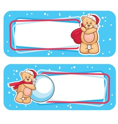 Christmas labels with bear vector