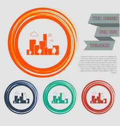 city icon on the red blue green orange buttons vector image
