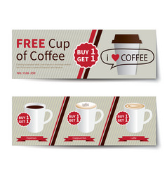 coffee coupon discount template flat design vector image