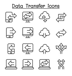 computer data transfer icon set in thin line style vector image