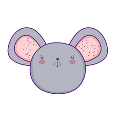 cute and little mouse head character vector image