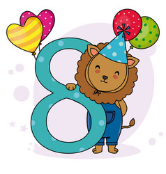 cute lion with the number eight vector image