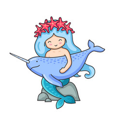 cute mermaid with long blue hair and wreath of red vector image
