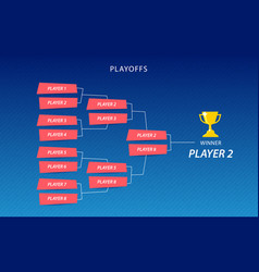 decoration of playoffs schedule template on blue vector image