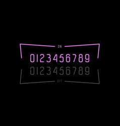 decorative numbers in form neon lamps vector image