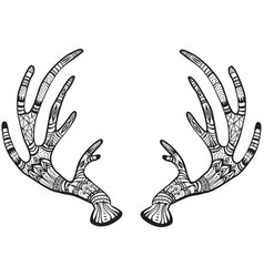 Deer antlers with native ornament vector