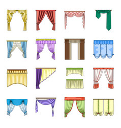 different kinds of curtains curtains set vector image