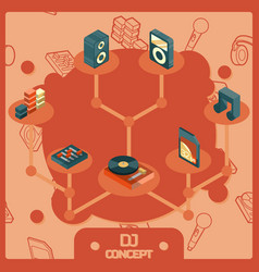 dj color isometric concept icons vector image