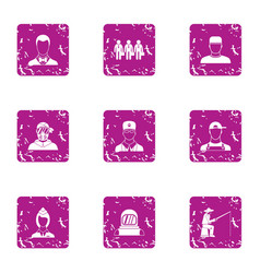 Extra view icons set grunge style vector