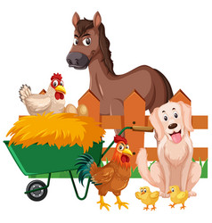 Farm animals and hay on white background vector