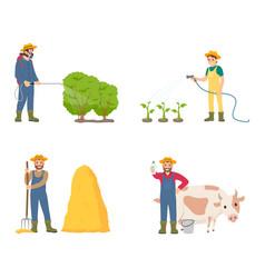 Farmer people with animal set vector