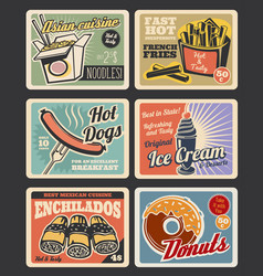 Fast food restaurant menu retro posters vector