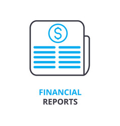financial reports concept outline icon linear vector image