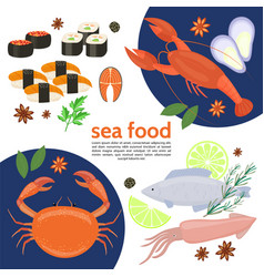flat natural sea food template vector image