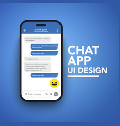 flat style smart phone with messenger chat screen vector image