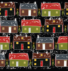 folk art christmas village pattern vector image