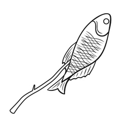 Fried fish icon in outline style isolated on white vector