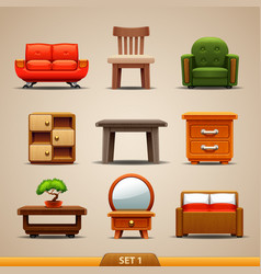 furniture icons-set 1 vector image