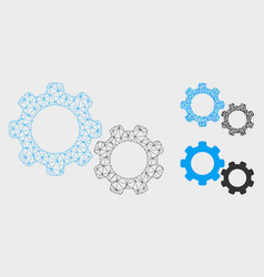 Gears mesh 2d model and triangle mosaic vector