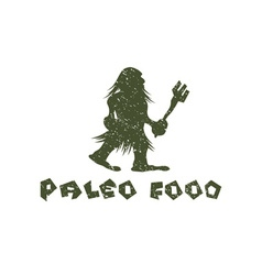 Grunge paleo food caveman design template vector